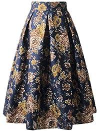 Zarupeng ☆☆☆☆ Mujeres Cintura Alta posicionamiento impresión Medio Falda Pettiskirt Princesa Vestido de Fiesta