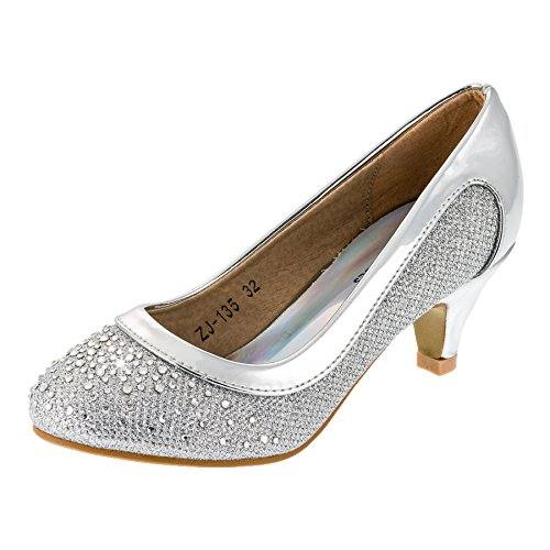 (Festliche Mädchen Pumps Ballerina Schuhe Absatz Glitzer in Vielen Farben M149si Silber 35)