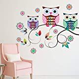 Coloré Hiboux Arbre Branches Stickers Muraux Enfants Chambre Salon Chambre...