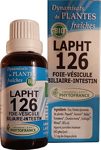 LAPHT DYNAMISAT DE PLANTES BIO - 126 FOIE - VESICULE BILIAIRE - INTESTIN - Digestion - Drainage - Constipation - Enfant - 30ml - PHYTOFRANCE