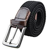 Shanxing Men's Belt Braided Elastic Fabric Webbing Belts for Men(Black)