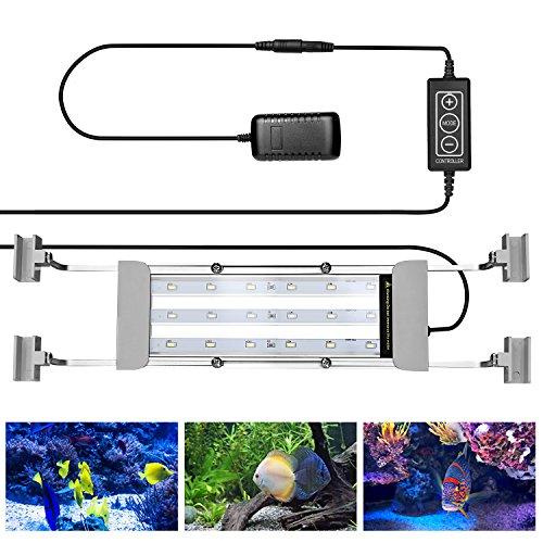 NEXGADGET Luz de Acuario LED Lámpara del Tanque de Peces Se Aplica a 30 cm -50cm con Soportes Extensibles 18 LED Blancos y Azules 7.5W con Controlador de Mano, Agua Salada y Agua Dulce