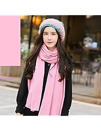 Bufanda ZHANGRONG- Otoño E Invierno Sombrero Dos Conjuntos Color Sólido  Mantener Caliente Moda Babero - 314aab99666