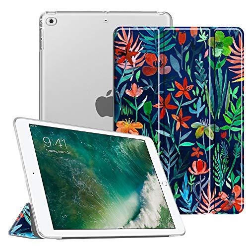 Fintie iPad 9.7 Zoll 2018/2017 Hülle - Ultradünn Superleicht Schutzhülle mit transparenter Rückseite Abdeckung Cover Case mit Auto Schlaf/Wach Funktion für Apple iPad 9,7'' 2018/2017, Dschungelnacht