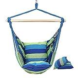 AMWFF - Hamaca con Columpio Azul, 130 x 100 cm, algodón + Lienzo, sillón Colgante con 2 Cojines, para Interior, Exterior, jardín