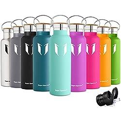 Super Sparrow Trinkflasche Edelstahl Wasserflasche - 500ml & 750ml & 1000ml - Isolier Flasche mit 100%-Zufriedenheitsgarantie | Perfekte Thermosflasche für das Laufen, Fitness, Yoga, Im Freien und Camping, Auto oder Unterwegs | Frei von BPA | Ideal als Wasser Flasche & Sportflasche - mit 2 auswechselbaren Kappen (Minze, 750ml-25oz)