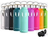 Super Sparrow Stainless Steel Vacuum Insulated Water Bottle, Double Wall Design,Standard Mouth - 500ml & 750ml & 1000ml - Eco Friendly & BPA Free - For Running, Gym, Yoga,Cycling, Outdoors and Camping, Car - Ideal as Sports Water Bottle - with 2 Exchangeable Caps (Mint, 750ml-25oz)