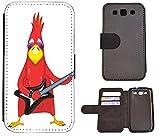 Hülle Galaxy S3 Hülle Galaxy S3 Neo Schutzhülle Flip Cover Case Samsung Galaxy S3 / S3 Neo (1009 Vogel Bird rot mit Gitarre Cool Rock Angry)