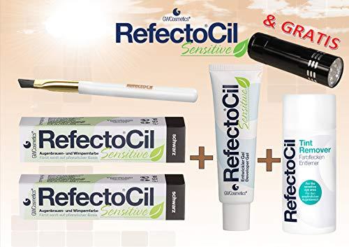 Refectocil Sensitive SET Augenbrauen/Wimpernfarbe 2 x schwarz - Entwickler & Farbfleckenentferner &...
