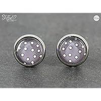 Ohrstecker Edelstahl * Cabochon - Dots gepunktet - 10 mm