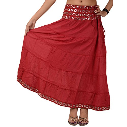 Skirts & Scarves Cotton Long Skirt for Women (Maroon)  available at amazon for Rs.659