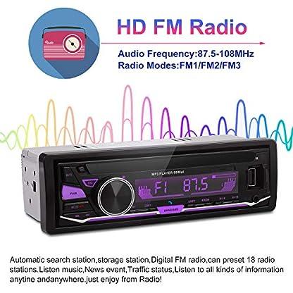 XYFANG-Autoradio-mit-Bluetooth-Freisprecheinrichtung1-DIN-Autoradio-MP3-PlayerUSBTFAUXFM-Audio-Empfnger-USB-Anschlsse-Fr-Musikspielen-und-Aufladen-7-LED-Farben-Einstellbar