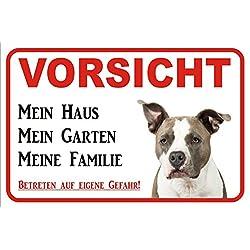 """Schild Vorsicht American Pit Bull Terrier""""Mein Haus"""" 15x20 oder 20x30 (20x30cm)"""
