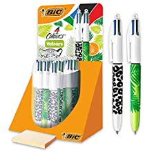 BIC 4 Colours Velours Ballpoint Pens with Jungle Pattern and Medium Tip 1.0 mm, Pack of 30