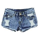 Xinan Damen Hot Pants, 1PC Frauen-Sommer-Mode-Weinlese -Denim-niedrige Taille Jean Shorts Hot Pants (XL)