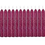 12 Pezzi Sigillatura dei Bastoncini di Cera con Stoppino Fuoco Antico Manoscritto Sigillante per Timbro Sigillo di Cera (Colori Vino Rosso)
