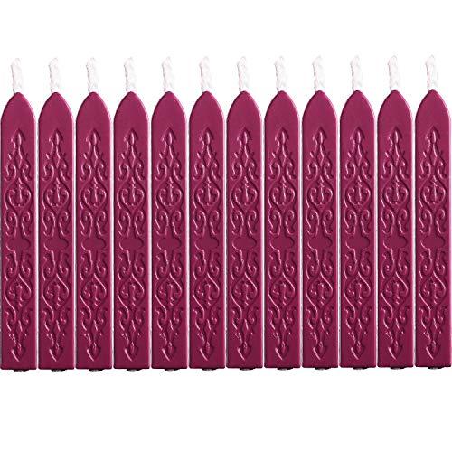 12 Stücke Siegellack Sticks mit Dochte Antikes Feuer Manuskript Siegelwachs für Wachs Siegelstempel (Wein Rot Farben) -