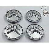 Lot de 4 caches moyeu de Roue Motif Citroen 60 mm + Porte-clés en Hommage aux Jantes en Alliage pour Citroen Citroen Voiture