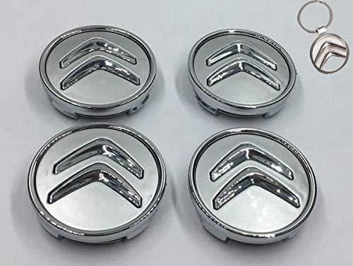 Lot de 4 caches moyeu de Roue Motif Citroen 60 mm + Porte-clés en Hommage aux Jantes en Alliage pour Citroen Citroen Voiture Universelle C1 C3 C3 C4 C5 C6 Logo Picasso Gris Chrome