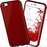 moex Apple iPhone 7/8 | Hülle Silikon Dunkel-Rot Brushed Back-Cover TPU Schutzhülle Ultra-Slim Handyhülle für iPhone 7/8 Case Dünn Silikonhülle Rückseite Tasche