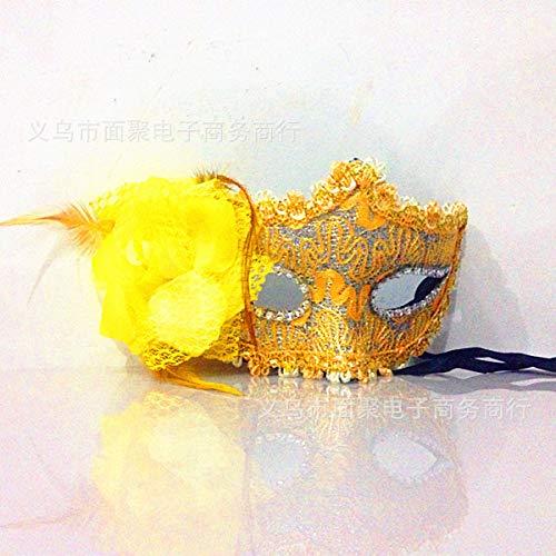 dhude Venetianische Maske Prinzessin Maske Strass Strass Ledermaske Makeup Ball-Maske Eine Gelb