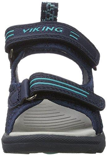 Viking Skumvaer Ii, Sandales  Bout ouvert mixte enfant Blau (Navy/Green)