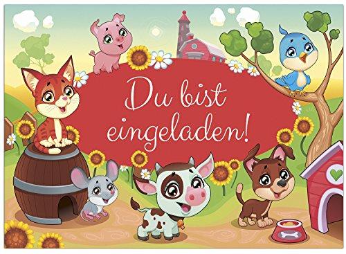 Einladungskarten Kindergeburtstag Tiere auf dem Bauernhof (16 Karten im Set)