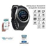 simvalley Mobile Smartwatch SIM: 2in1-Uhren-Handy & Smartwatch für iOS & Android, rundes Display (Smartwatches mit Bluetooth)