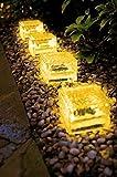 4er Set warmweiße Wegeleuchte LED Solarleuchte Eisblock LED Solarlampe Eiswürfel Solar LED Glas - Solarlampen mit LED Beleuchtung Echtglas mit integriertem Dämmerungssensor- einmaliger Blickfang als Wegeleuchte oder Pfadbeleuchtung als auch als Beleuchtung für das Blumenbeet (4er Set 7x7x5 cm warmweiß)