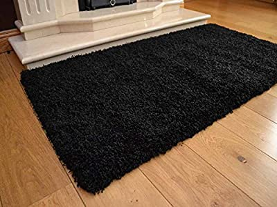 Soft Touch Shaggy Black Thick Luxurious Soft 5cm Dense Pile Rug. Available in 7 Sizes - inexpensive UK light shop.