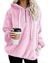 GARYOB Damen Casual Winter Kapuzenpullover Teddy-Fleece Langarm Oversize  Sweatshirt Hoodie Einfarbig Warm(Größe 4d2cb9c3c3