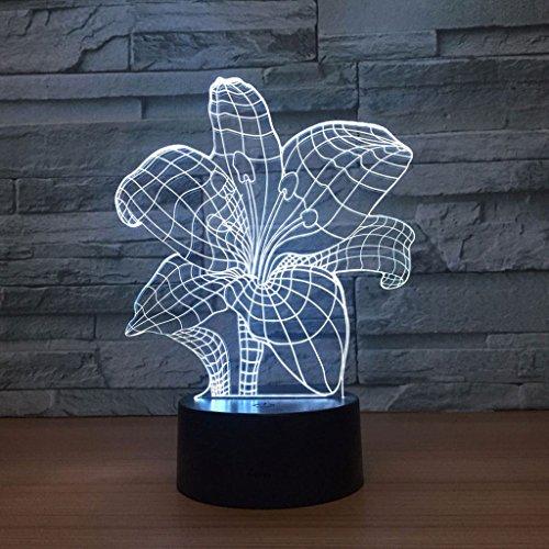 Zcxbhd Lumières colorées lumières d'Illusions fleur colorée lampes chevet modernes lumières LED Bébé enfants adultes filles garçons adolescents cadeaux parfaits lumières nuit acryliques veilleuse