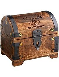 Casa Vivente Cofre de madera grande con grabado para bodas – Corazones – Personalizado – Madera