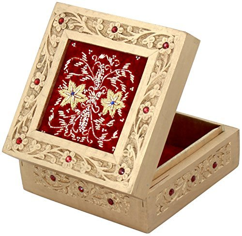 SouvNear 15.2 Rot Schmuckkästchen für Frauen – Erinnerungsstück Kiste aus Holz / Schmuckkästchen mit Sorgfalt handgeschnitzt und mit hand-gesticktem Samt geschmückt - Ein besonderes Geschenk für sie (Gestickte Zahlen)