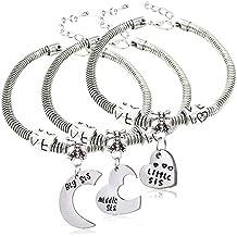 3 pulseras para hermanas mayor, mediana y menor, diseño con corazones