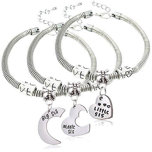 """Lauhonmin 3 collane con ciondolo a forma di cuore, per sorelle, con incisioni """"Big Sis"""", """"Middle Sis"""", Little Sis"""", idea regalo per sorelle"""
