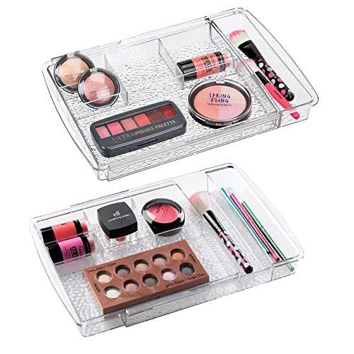 mDesign 2er-Set Kosmetik Organizer ausziehbar - flexible Aufbewahrungsbox für die Schublade - perfekt zur Schminkaufbewahrung, Schmuck und für kleine Badaccessoires - durchsichtig -