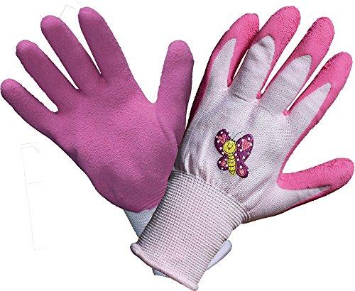 Land-Haus-Shop Kinder Arbeitshandschuhe Gartenhandschuhe Kinder Arbeits Garten Handschuhe pink Schmetterling