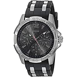 GUESS Men's U0032G7 Sporty Silver-Tone Stainless Steel Watch with Multi-function Dial and Strap Buckle