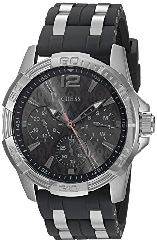 GUESS Men's U0032G7 Sporty Silver-Tone Stainless Steel Watch with Multi-function Dial and Strap Buckle (Guess Daisy)