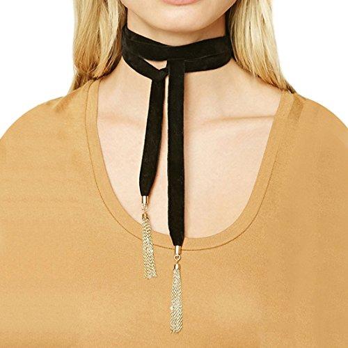 ze Samt Halsband mit Gold Quaste Anhänger für Frauen (Niedlich Passenden Outfits Familie)