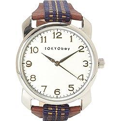Tokyobay T373-BL Unisex rostfreies Brown-Leder-Band-weiße Vorwahlknopf-runde Uhr
