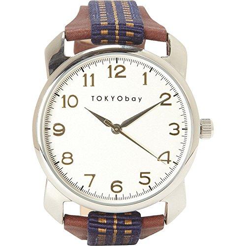 tokyobay-t373-bl-unisexe-inoxydable-brown-bracelet-en-cuir-blanc-cadran-rond-montre