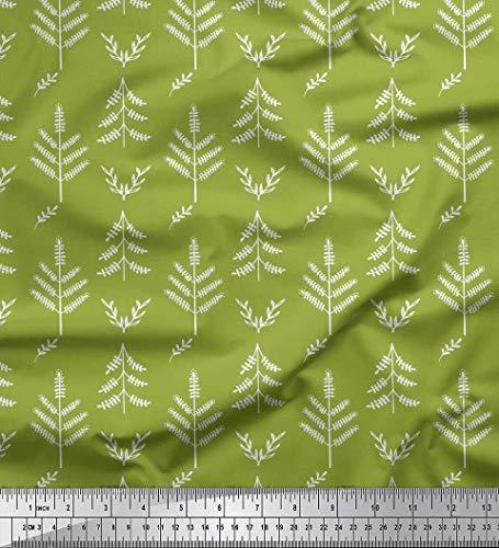 Soimoi Grun Samt Stoff Blätter kunstlerisch Drucken Nahen Stoff 1 Meter 58 Zoll breit