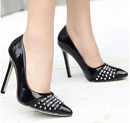 Arbeit Schuhe Pumps Scarpin Neue Revit Dekoration PU Sommer Frauen Peep Toe Schuhe EU Größe 35-40 Black