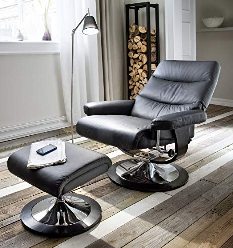 VAJA Möbel Relaxsessel Fernsehsessel mit Beinauflage Sitzfläche Echtleder schwarz