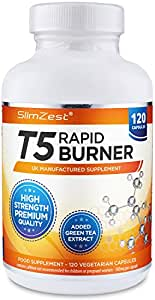 T5 Fat Burners – Rapid Fat Burner for Men & Women – 120 Vegetarian Capsules – UK Manufactured – High Strength High Quality Safe Legal Fat Burner – Slimming Pills From A Trusted UK Brand – Diet Pills That Work Fast - Bust Belly Fat with SlimZest T5 Fat Burner Weight Loss Pills (120 Vegetarian Capsules)