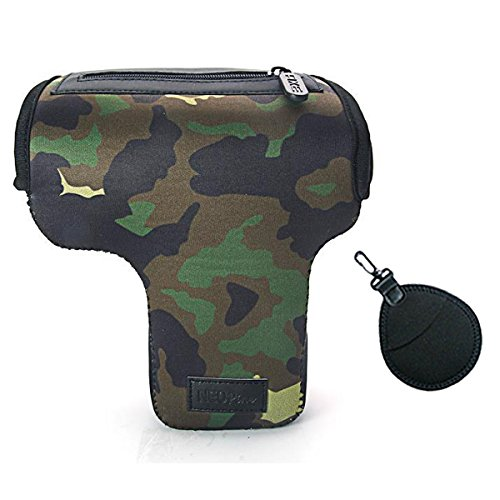 First2savvv QSL-CB-B06UV grün Flexible Neopren DSLR / SLR Kameratasche für Canon Rebel T5i.Rebel T4i.EOS Rebel T5. Rebel SL1. Nikon D3300. D3200. D5200. D5300. D5500. 700D, 100D. 1200D. + UV-Objektiv-Tasche