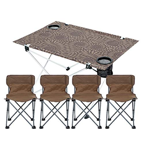 MSF Table Pliante Table et Chaise Pliantes extérieures Set Portable Barbecue Sauvage 3-7 pièces Ensemble de Table en Aluminium et Chaise de ménage (Couleur : A - 1 Cloth Table+4 Chairs)