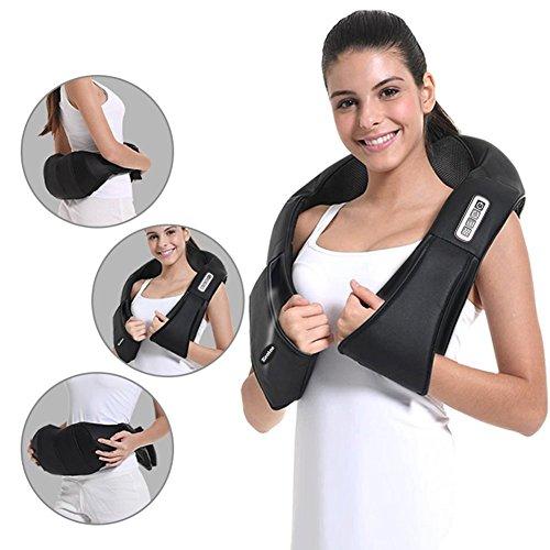 Ecotec Shiatsu Nacken Massagegerät für Schulter Rücken Nackenmassagegerät Elektrisch mit Wärmefunktion 3D-Rotation Massage Muskel Schmerzlinderung für Büro Auto Hause